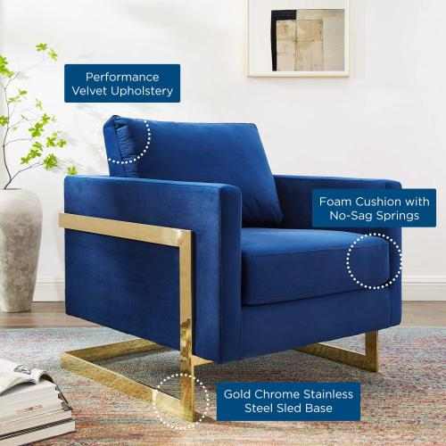 Posse Performance Velvet Accent Chair in Gold Navy