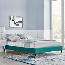 Harlow Twin Performance Velvet Platform Bed Frame in Teal