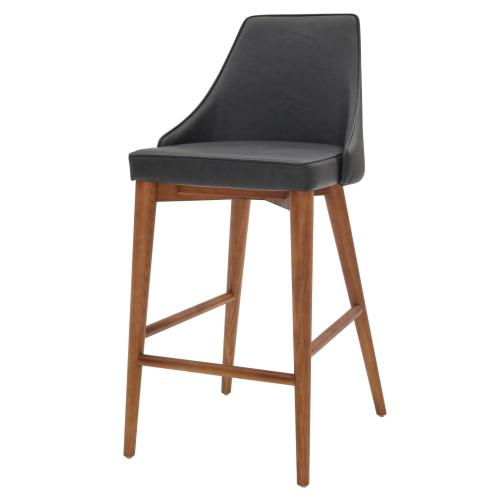 Erin KD PU Counter Stool Walnut Legs, Antique Gray