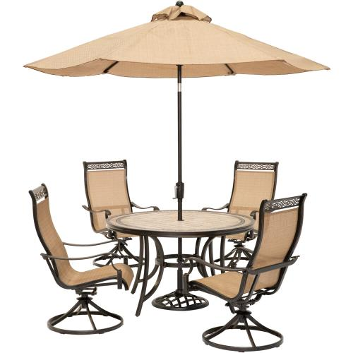 Hanover Monaco 5 Piece Outdoor Dining Set with 9 ft. Table Umbrella, MONACO5PCSW-SU
