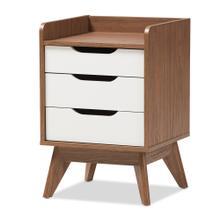 See Details - Baxton Studio Brighton Mid-Century Modern White and Walnut Wood 3-Drawer Storage Nightstand
