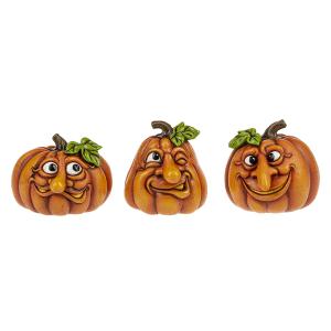 Halloween Funny Face Pumpkin Figurines - Sm. (12 pc. ppk.)