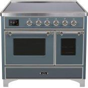 Majestic II 40 Inch Electric Freestanding Range in Blue Grey with Chrome Trim