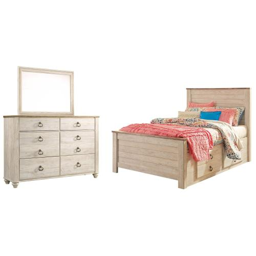 Ashley - Full Panel Bed With 2 Storage Drawers With Mirrored Dresser