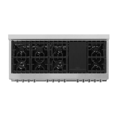 """Zline Kitchen and Bath - ZLINE 60"""" 7.4 cu. ft. Dual Fuel Range with Gas Stove and Electric Oven in DuraSnow® Stainless Steel (RAS-SN-60) [Color: Durasnow® with Brass Burners]"""
