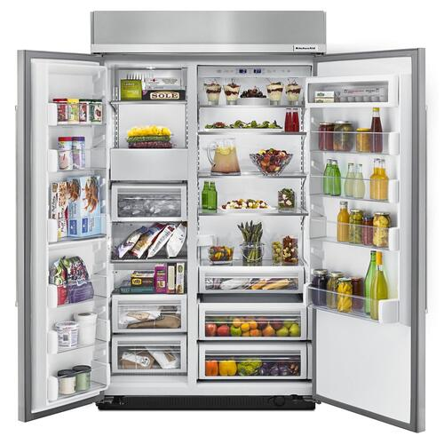 30.0 cu. ft 48-Inch Width Built-In Side by Side Refrigerator with PrintShield™ Finish - Stainless Steel with PrintShield™ Finish