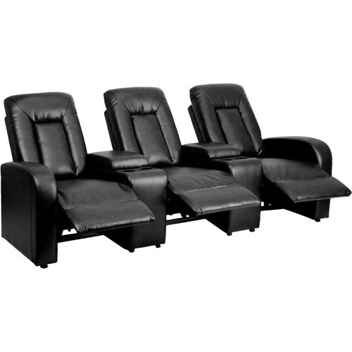 Flash Furniture - Eclipse Series 3-Seat Reclining Black LeatherSoft Theater Seating Unit with Cup Holders