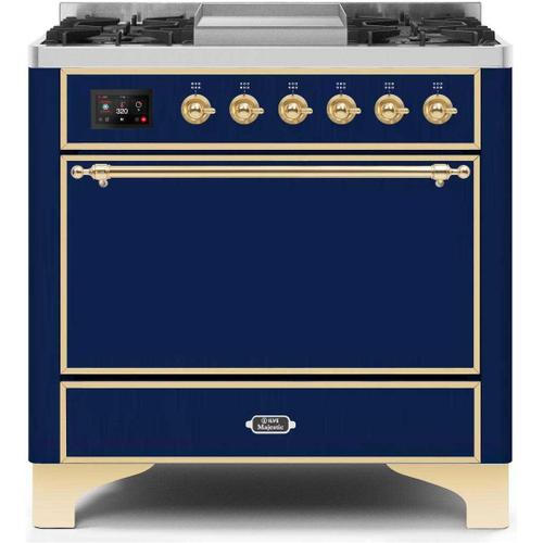 Majestic II 36 Inch Dual Fuel Natural Gas Freestanding Range in Blue with Brass Trim