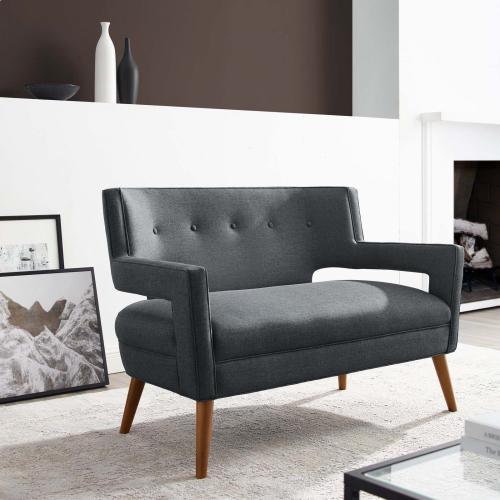 Sheer Upholstered Fabric Loveseat in Gray