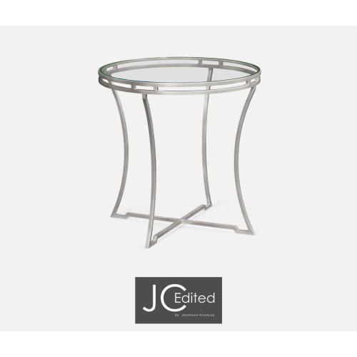 Silver iron round side table