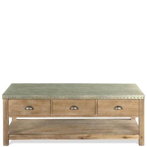 Liam - Lift-top Coffee Table - Gray Acacia/galvanized Metal Finish
