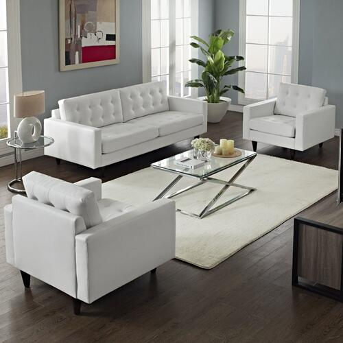 Empress Sofa and Armchairs Set of 3 in White