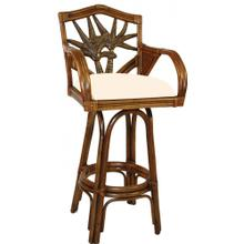 "Product Image - Havana Palm Indoor Swivel Rattan & Wicker 30"" Bar Stool with cushions"