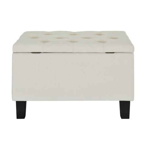 Accentrics Home - 29 Inch Hinged Top Storage Bench w/ Diamond Tufted Seat in Cream