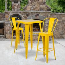 "Commercial Grade 23.75"" Square Yellow Metal Indoor-Outdoor Bar Table Set with 2 Stools with Backs"