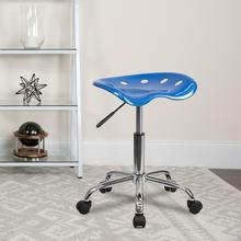 View Product - Vibrant Bright Blue Tractor Seat and Chrome Stool