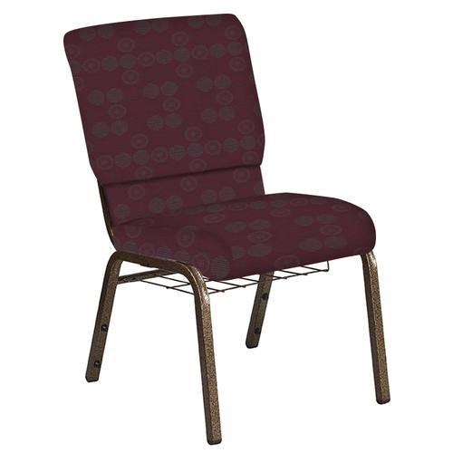 Flash Furniture - 18.5''W Church Chair in Galaxy Wine Fabric with Book Rack - Gold Vein Frame