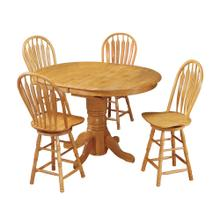 DLU-TBX4266CB-B24-LO5PC  5 Piece Pedestal Butterfly Leaf Pub Table Set  Swivel Barstools