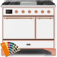 Majestic II 40 Inch Dual Fuel Liquid Propane Freestanding Range in Custom RAL Color with Copper Trim
