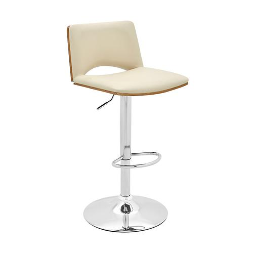 Armen Living - Thierry Adjustable Swivel Cream Faux Leather with Walnut Back and Chrome Bar Stool