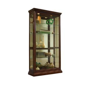 Gallery - Lighted Sliding Door 4 Shelf Curio Cabinet in Cherry Brown