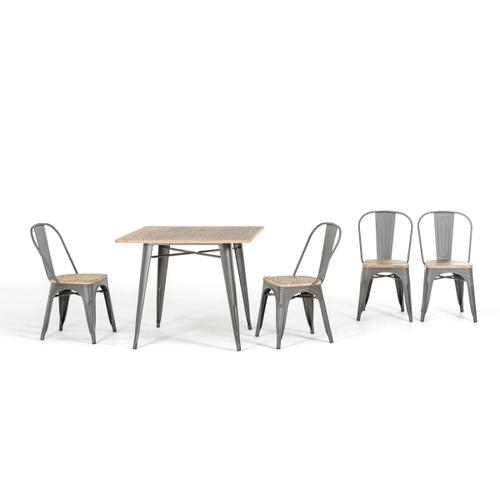 Modrest T-14005 Modern Grey Metal and Wood Square Dining Table