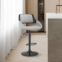 View Product - Colby Adjustable Grey Faux Leather and Black Finish Bar Stool