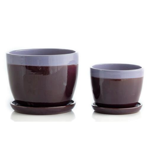 Alfresco Home - Sand Weave Mezzo Planter w/ attchd saucer, Set of 2 (Min 4 sets)