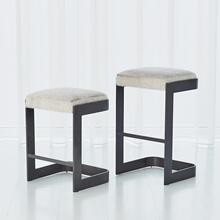 Regan Low Bar Stool w/Grey Hair-on-Hide-Graphite
