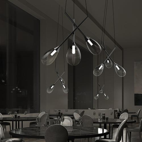 Sonneman - A Way of Light - Parisone LED Pendant [Size=Cluster, Color/Finish=Satin Black w/Smoke Glass]