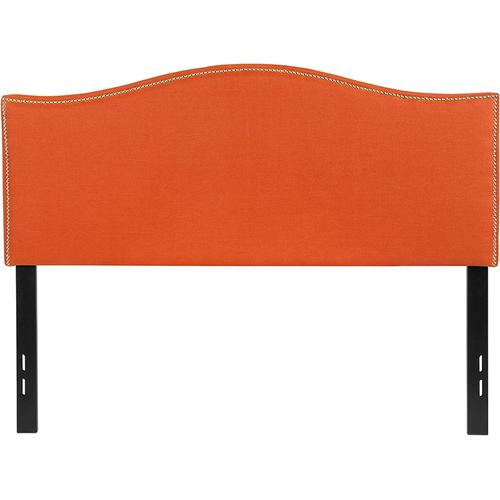 Lexington Upholstered Full Size Headboard with Accent Nail Trim in Orange Fabric