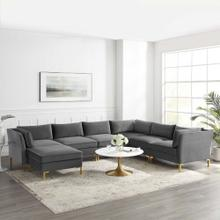 Ardent 7-Piece Performance Velvet Sectional Sofa in Gray