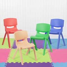 "4 Pack Plastic Stackable School Chairs with 13.25"" Seat Height, Assorted Colors [4-YU-YCX-004-MULTI-GG]"