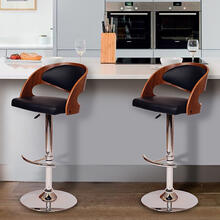 Armen Living Malibu Swivel Barstool In Black PU/ Walnut Veneer and Chrome Base