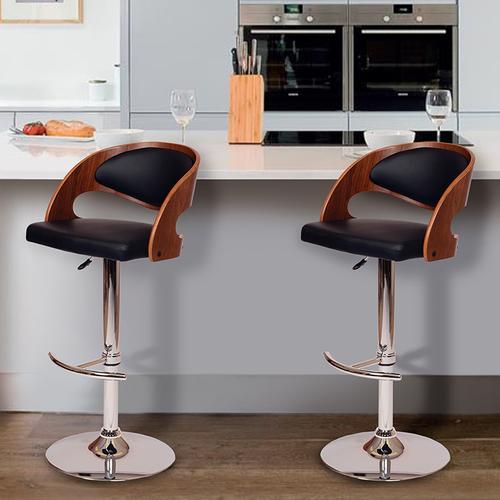 Armen Living Malibu Swivel Barstool In Black PU/ Walnut Veneer and Chrome Base