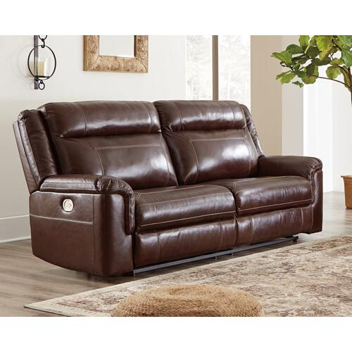 Power Leather Reclining Sofa with Adjustable Headrest