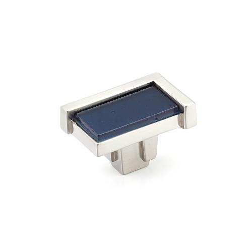 "Tallmadge, Knob, Rectangle, 1-3/4"", Satin Nickel, Steel Blue Glass"