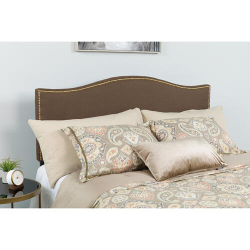Lexington Upholstered King Size Headboard with Accent Nail Trim in Dark Brown Fabric