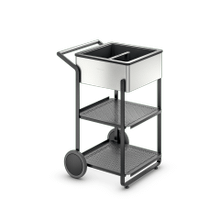 Outdoor mobile bar, insulated presentation bin, stainless-steel