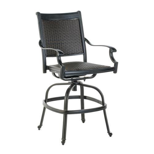 Shetland Wicker Cast Gathering Swivel Arm Chair w/ Reticulated Foam