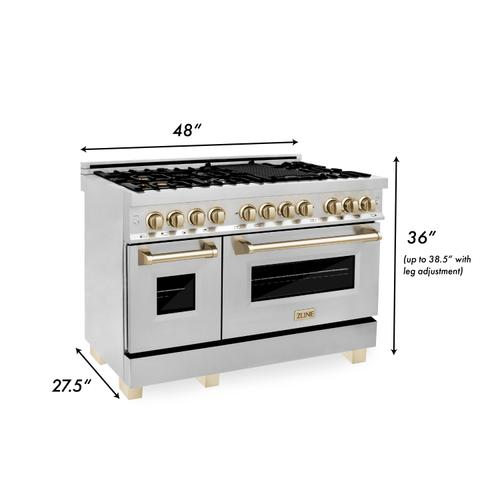 """Zline Kitchen and Bath - ZLINE Autograph Edition 48"""" 6.0 cu. ft. Dual Fuel Range with Gas Stove and Electric Oven in Stainless Steel with Accents (RAZ-48) [Color: Matte Black]"""
