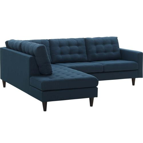 Modway - Empress 2 Piece Upholstered Fabric Left Facing Bumper Sectional in Azure