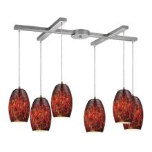 Maui 6-Light H-Bar Pendant Fixture in Satin Nickel with Embers Glass