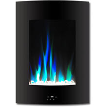 Cambridge 19.5 In. Vertical Electric Fireplace in Black with Multi-Color Flame and Crystal Display, CAM19VWMEF-1BLK