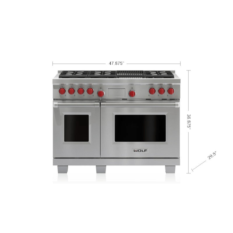 "Legacy Model - 48"" Dual Fuel Range - 6 Burners and Infrared Charbroiler"
