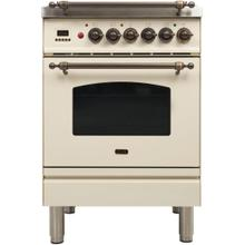 Nostalgie 24 Inch Dual Fuel Liquid Propane Freestanding Range in Antique White with Bronze Trim