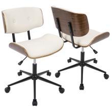 See Details - Lombardi Office Chair - Black Metal, Walnut Wood, Cream Pu
