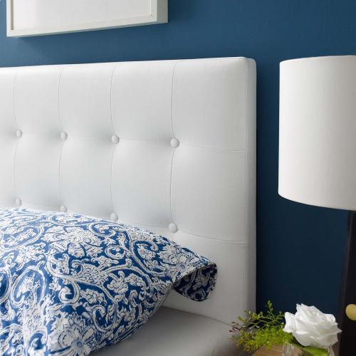 Emily Twin Upholstered Vinyl Headboard in White