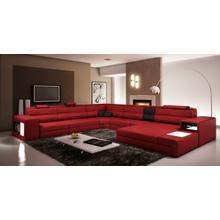 Divani Casa Polaris Dark Red Bonded Leather Sectional Sofa