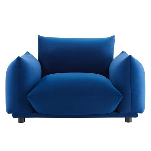 Modway - Copious Performance Velvet Armchair in Navy